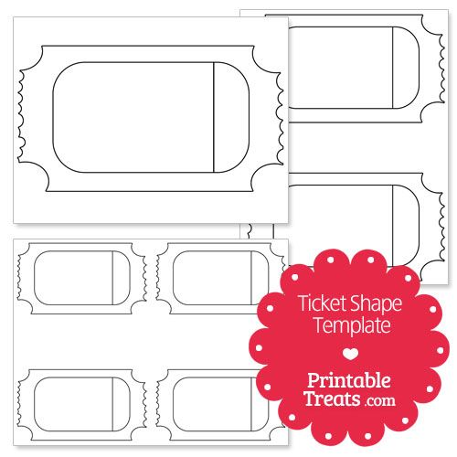 Printable Ticket Shape Template from PrintableTreats Circus - printable ticket template free