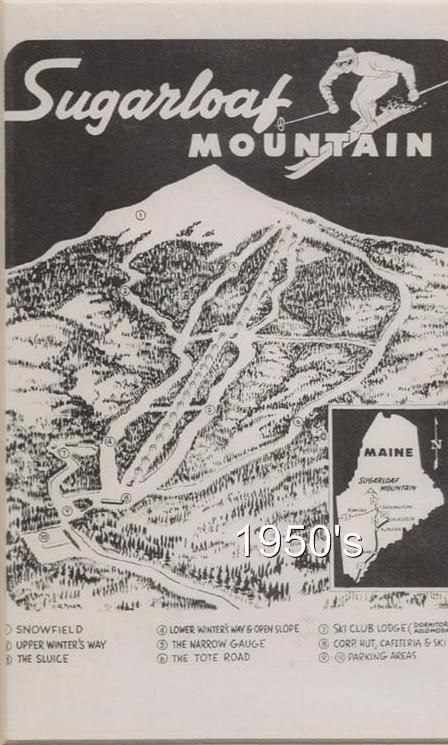 Kingfield Maine Map.Sugarloaf Usa 1950 S Trail Map Ski Poster Kingfield Me Maine From
