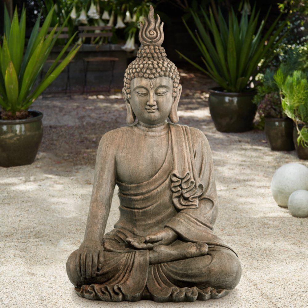 Large Sitting Buddha Statue Decor 42 Outdoor Garden Zen Spiritual Yoga Figure Largesittingbuddhastatue Outdoor Statues Sitting Buddha Statue
