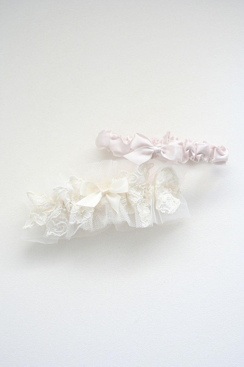Wedding Garter Bridal Garter Pink and Cream Garter