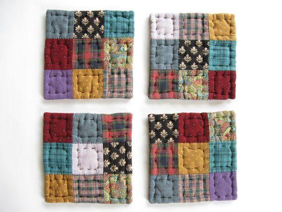 Quilted Coasters Fabric Coasters Mug Mats Rustic di dlf724