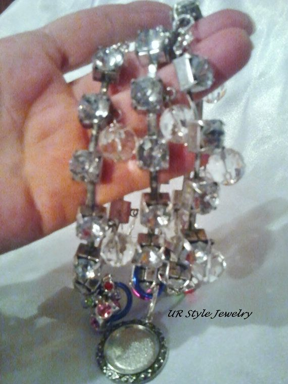 Crystal Brown Leather Glitter Bracelet by URStyleJewelry on Etsy, $25.99