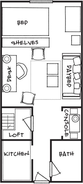 A houseful of style in 200 square feet square feet for Studio layout plan
