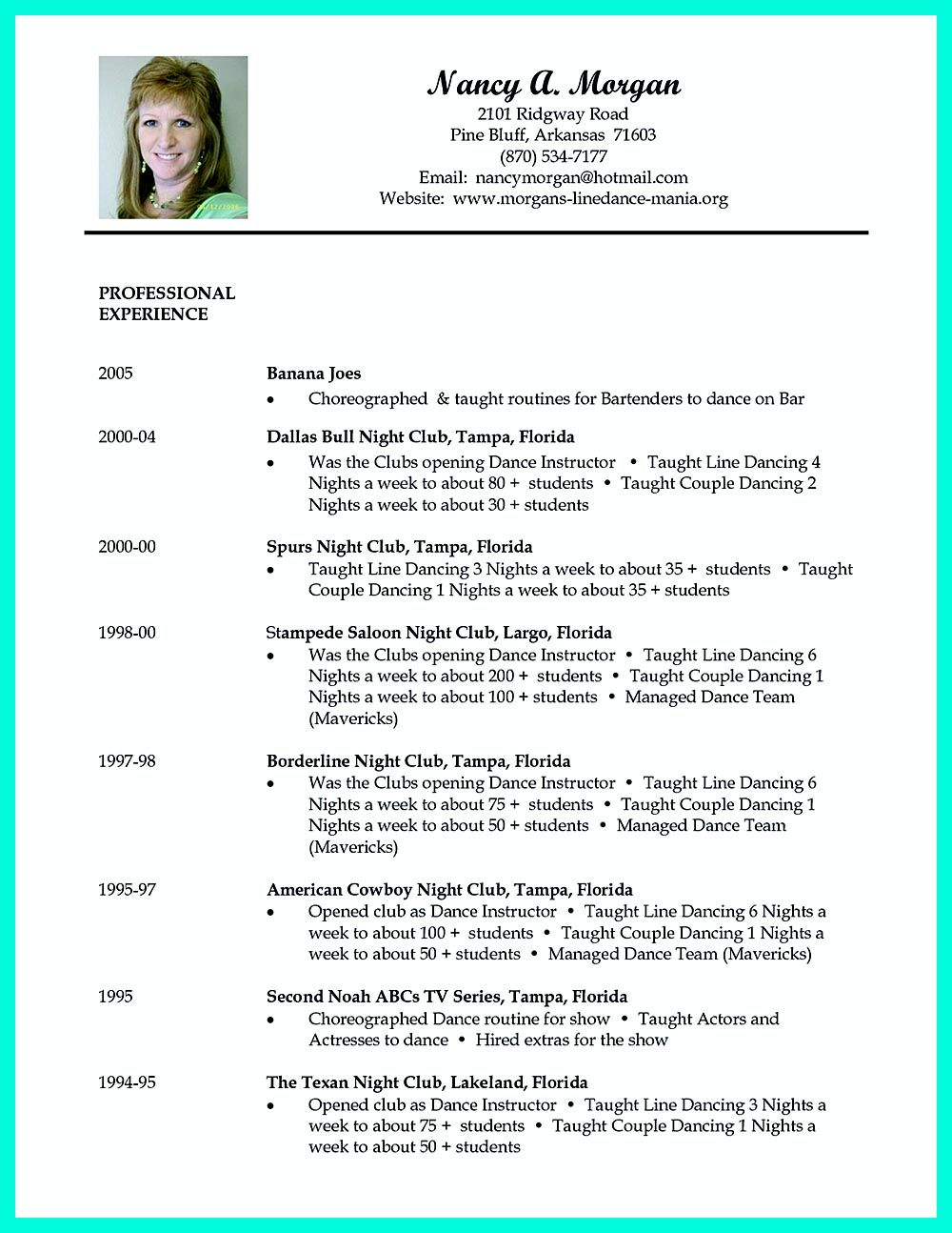 Example Dance Resume  How To Make A Dance Resume