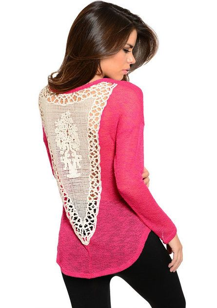 Fall Fashion Back Lace Crochet Detail Sweater Knit Fuchsia Top - Andreas Boutique #style #ootd #ootn