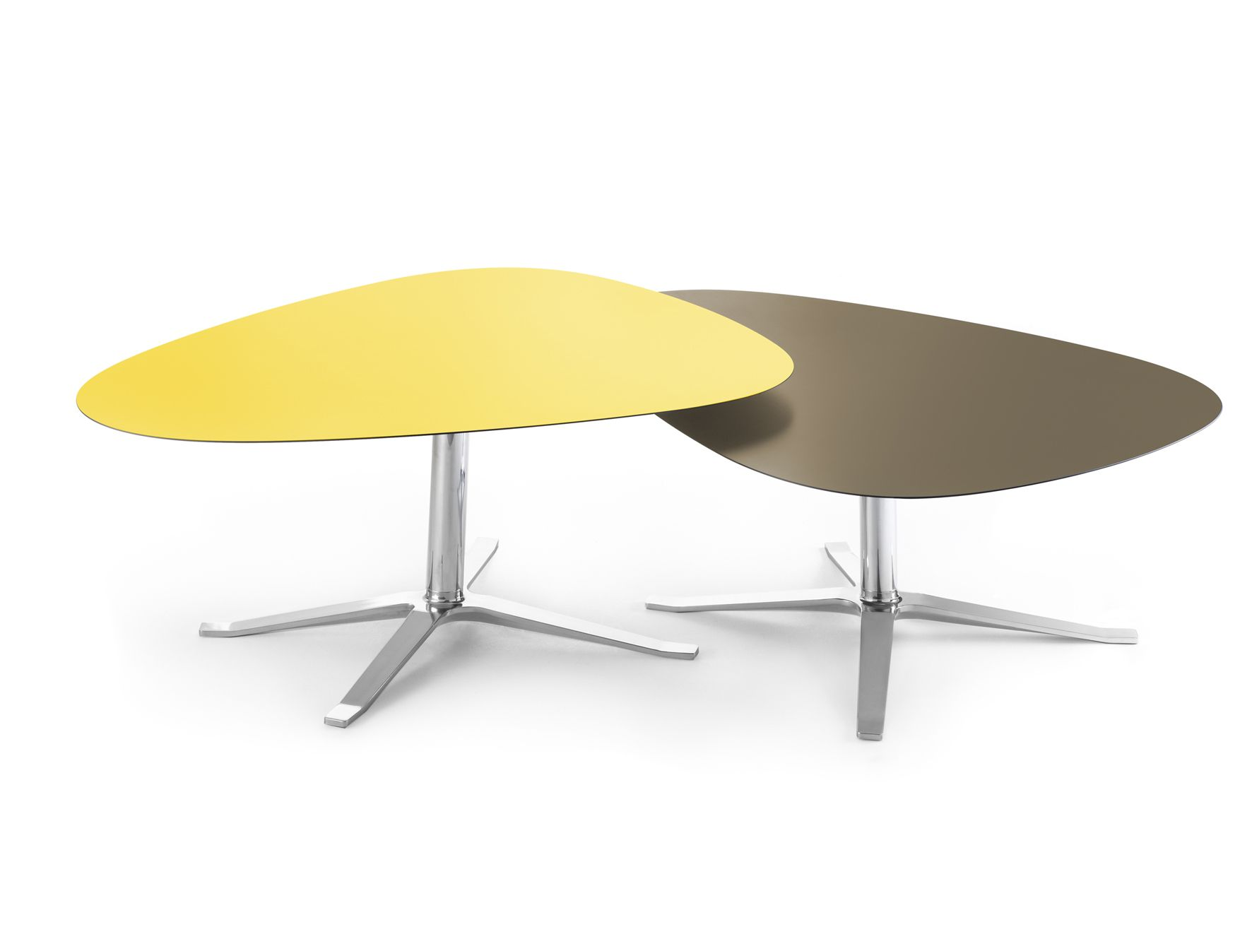 Oval aluminium and wood coffee table with 4 star base CUMULUS by