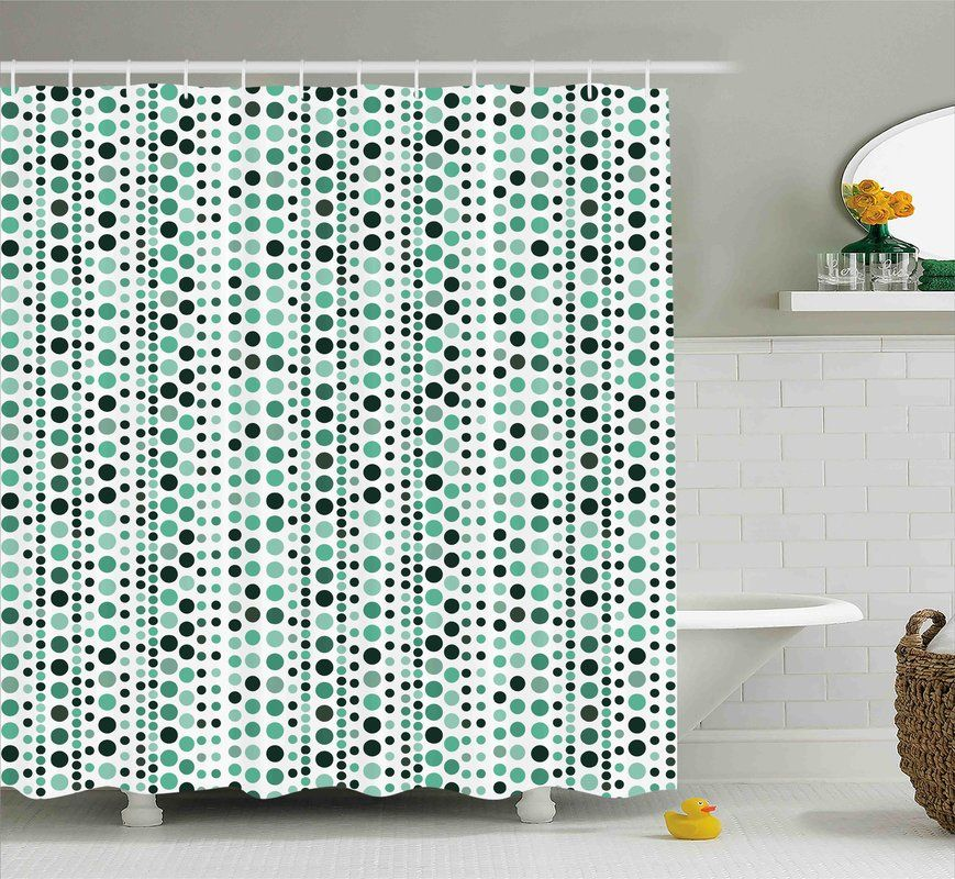 Thelma Modern Retro 60s 70s Vintage Geometrical Circles Dots Points Ombre Image Shower Curtain Green Shower Curtains Modern Retro Shower Curtain Sizes