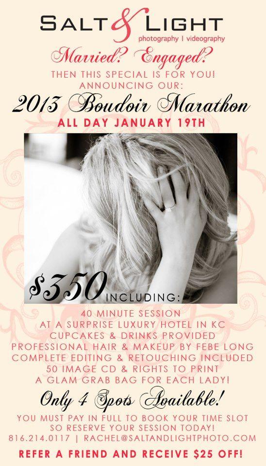 Boudoir Marathon in Kansas City! Repin if you love Boudoir! Salt