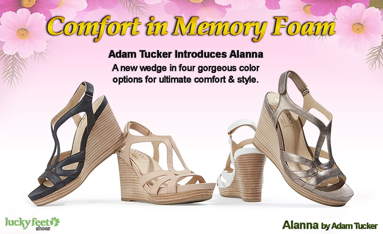 FIND COMFORT IN MEMORY FOAM WEDGES  http://luckyfeetshoes.com/comfort-memory-foam-wedges-alanna/