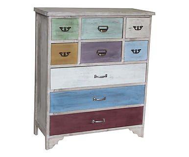 Como\' 9 cassetti in legno Valentine multicolor, 81x35x88 cm ...