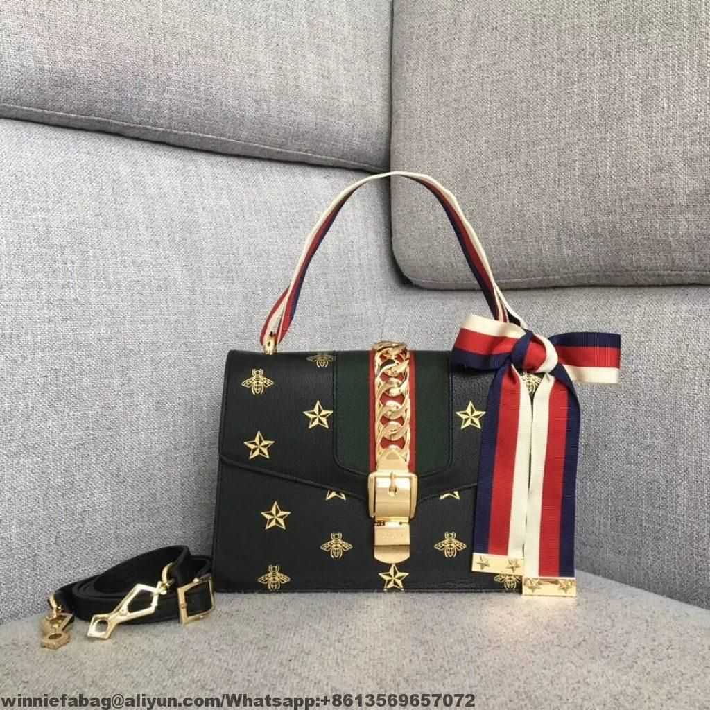 eb171b510139 Gucci Sylvie Bee Star Small Shoulder Bag 524405 2019   Gucci in 2019 ...