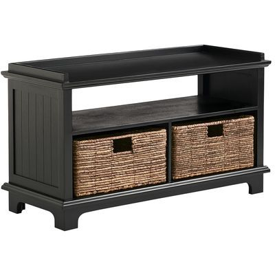 Holtom Rubbed Black Storage Bench with Baskets