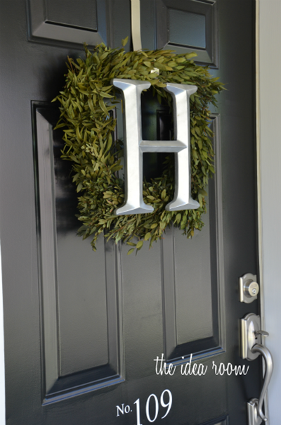 Love This Square Wreath For The Front Door And The Large Silver Initial.