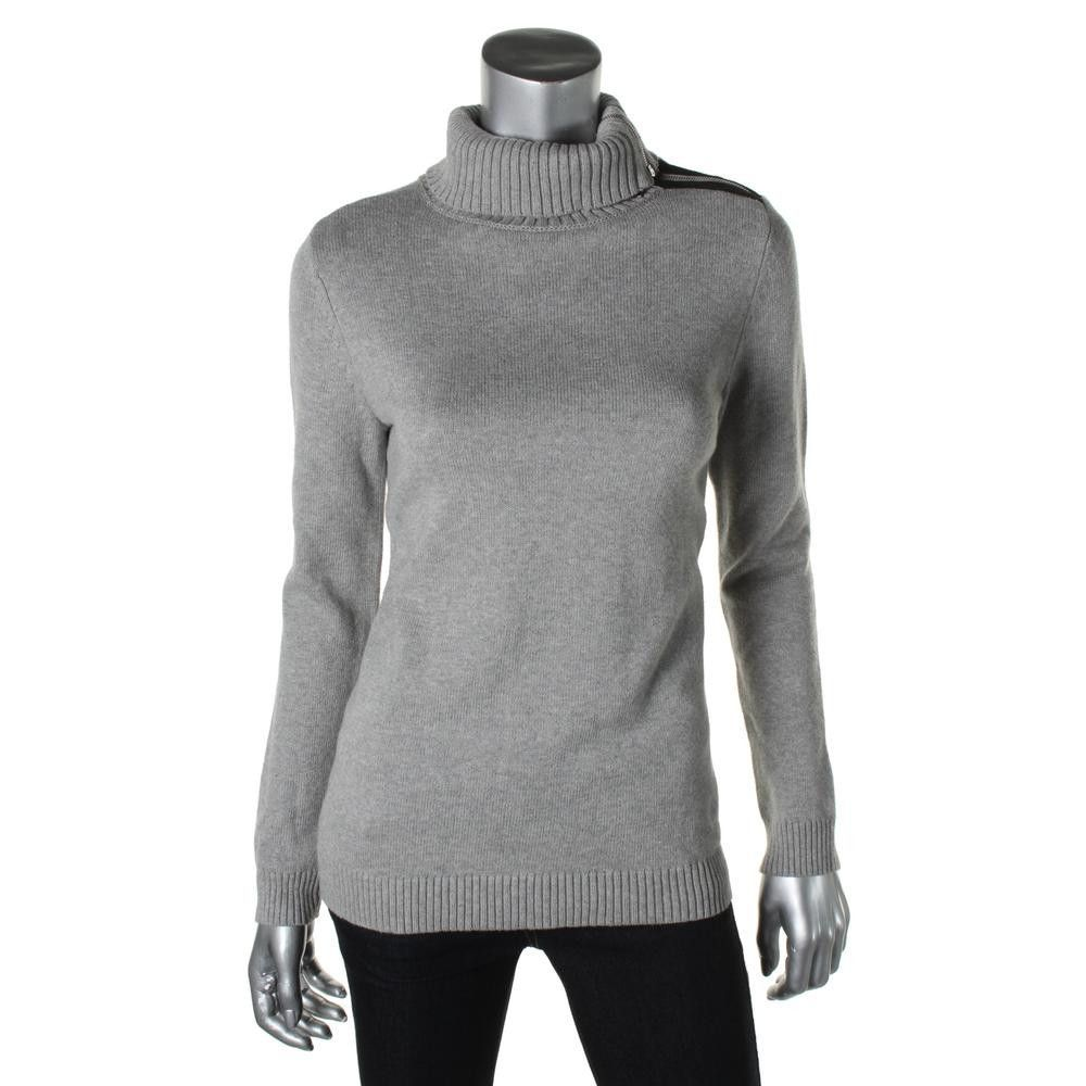 Charter Club Womens Petites Ribbed Trim Long Sleeves Pullover Sweater