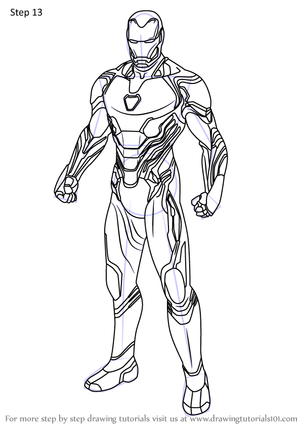 Learn How To Draw Iron Man From Avengers Endgame Avengers Endgame Step By Step Drawing Tutorials Iron Man Art Iron Man Drawing Man Sketch