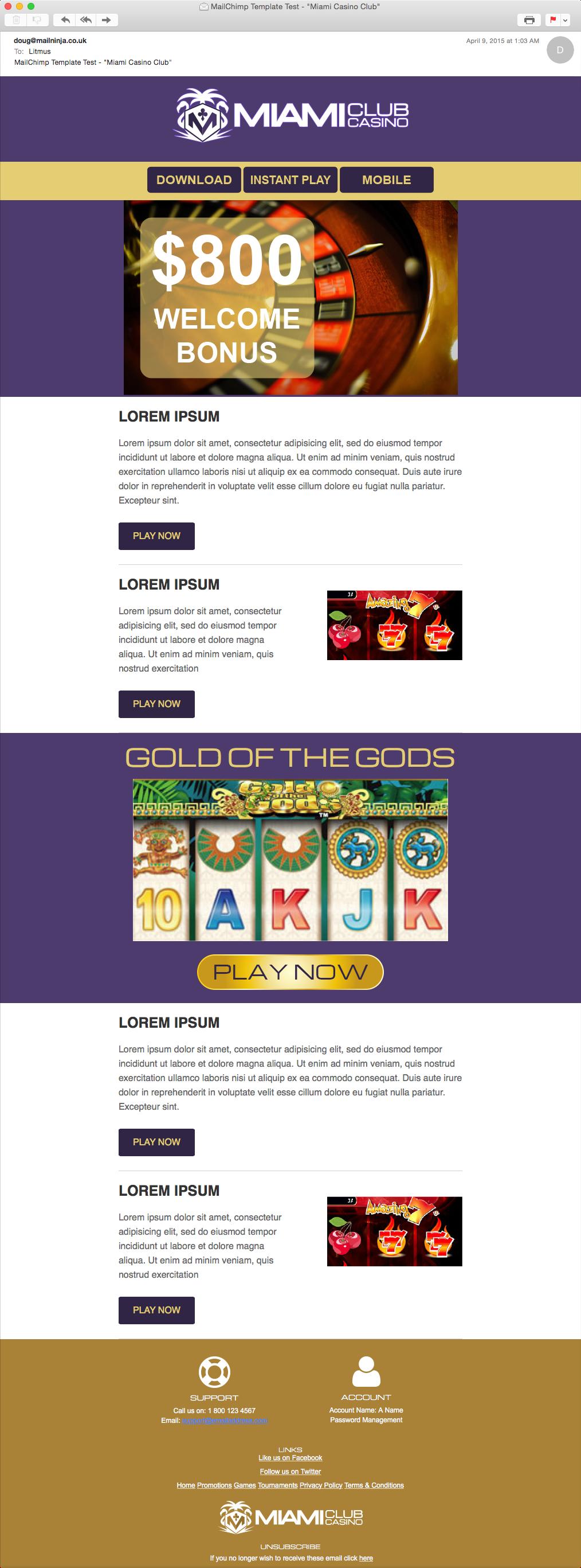 Casino email marketing sibaya casino restaurants a2a