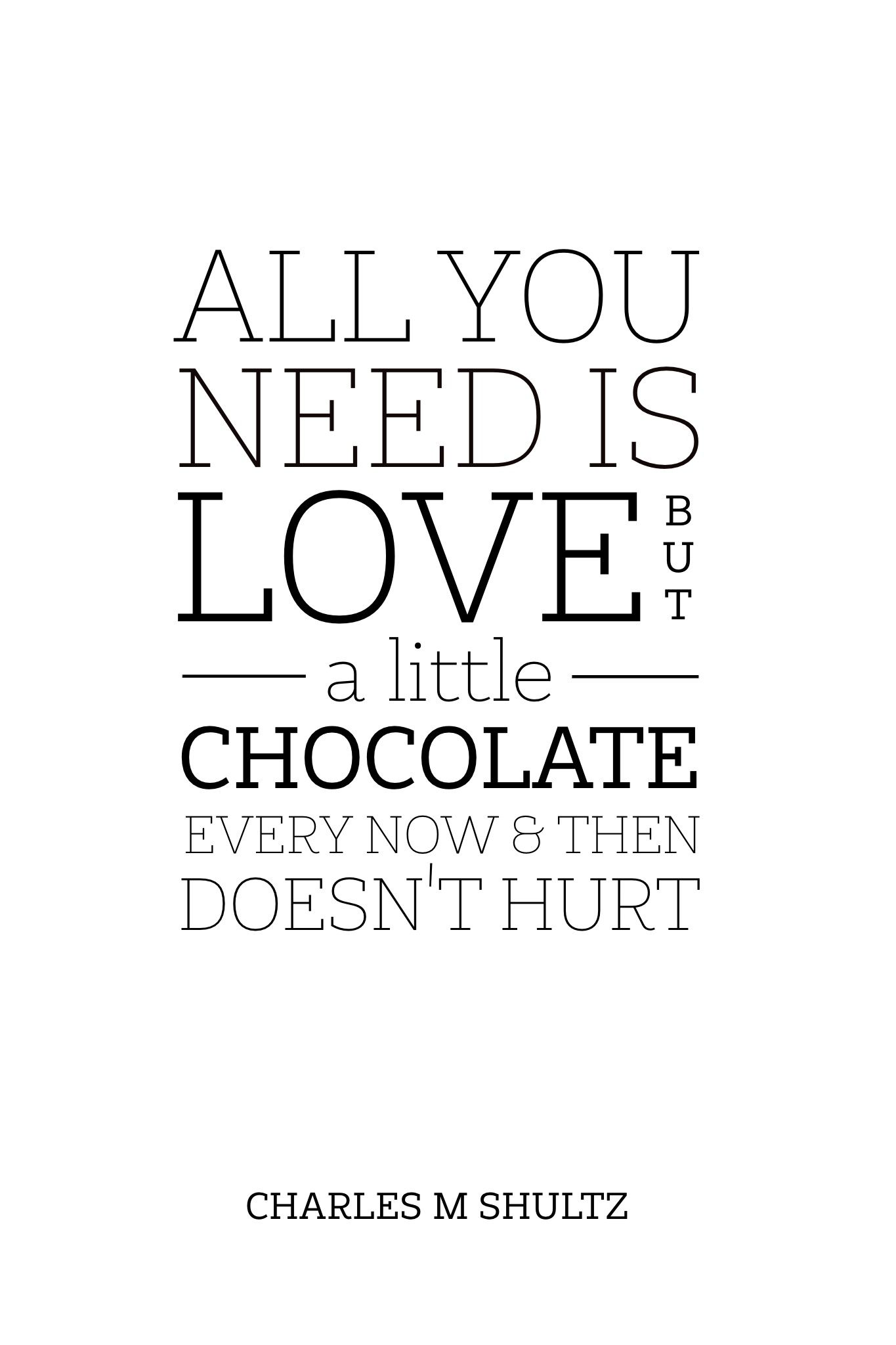 All you need is love but a little chocolate every now and then ...