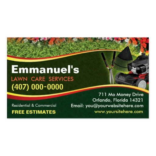 Landscaping lawn care mower business card template lawn for Landscaping business