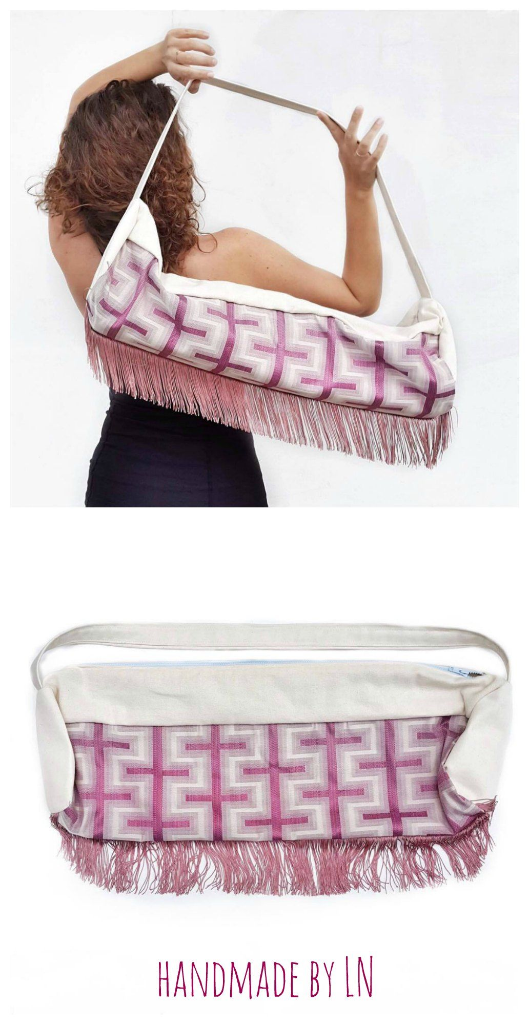 Rose Mat Cover, Cute Yoga Bag with Fringe, Pink Blush Yoga Mat Bag ...