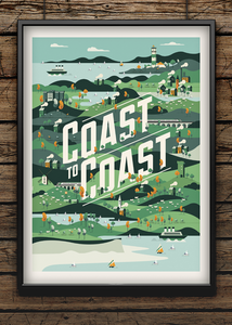 Cycling. Art. Print. Poster. Coast to Coast. Seaside. Illustration.
