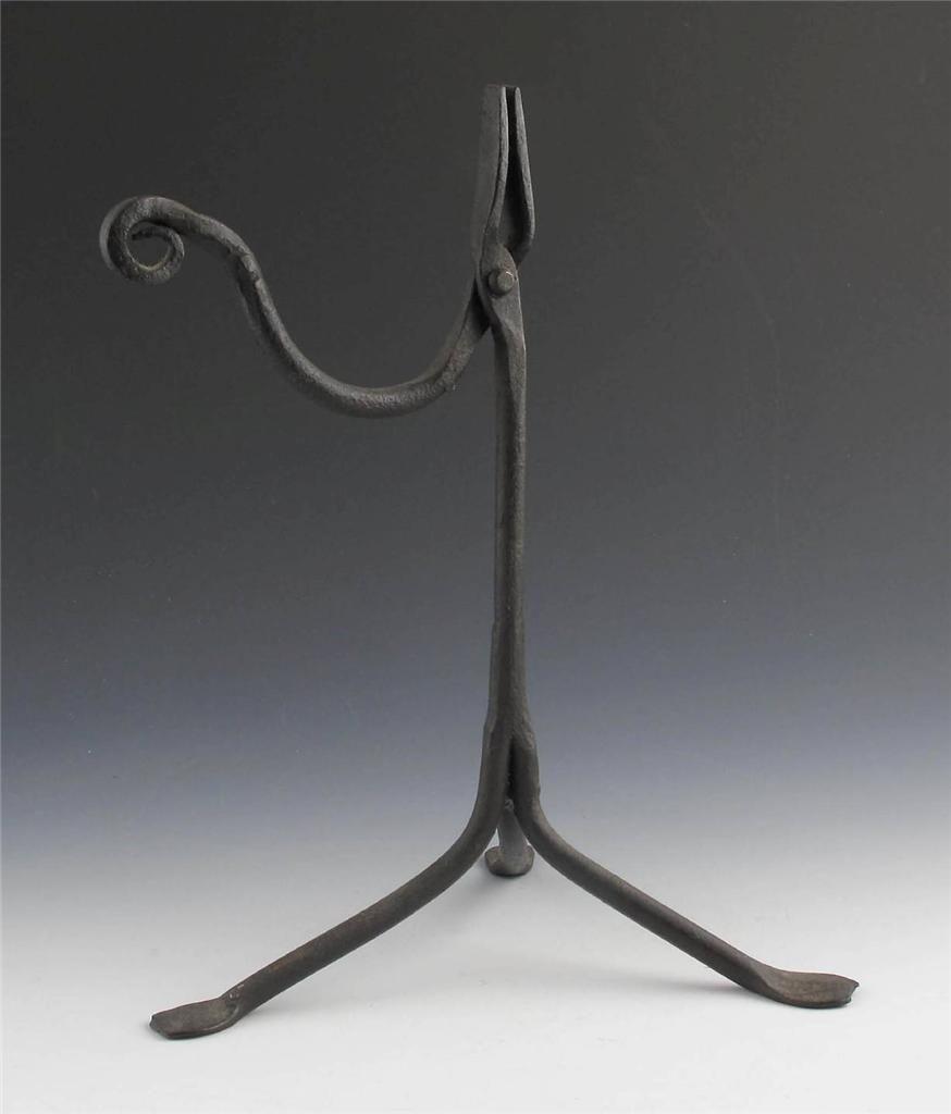great primitive 18th century wrought iron pennyfoot rush light