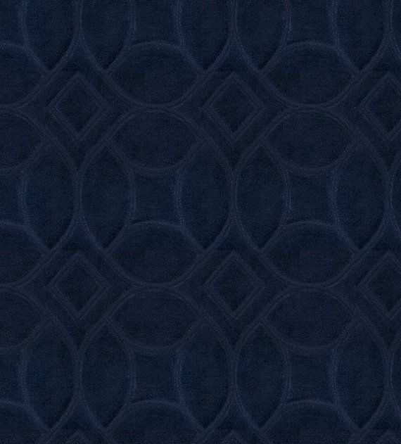 Dark Blue Imprinted Velvet Upholstery Fabric By The Yard Navy