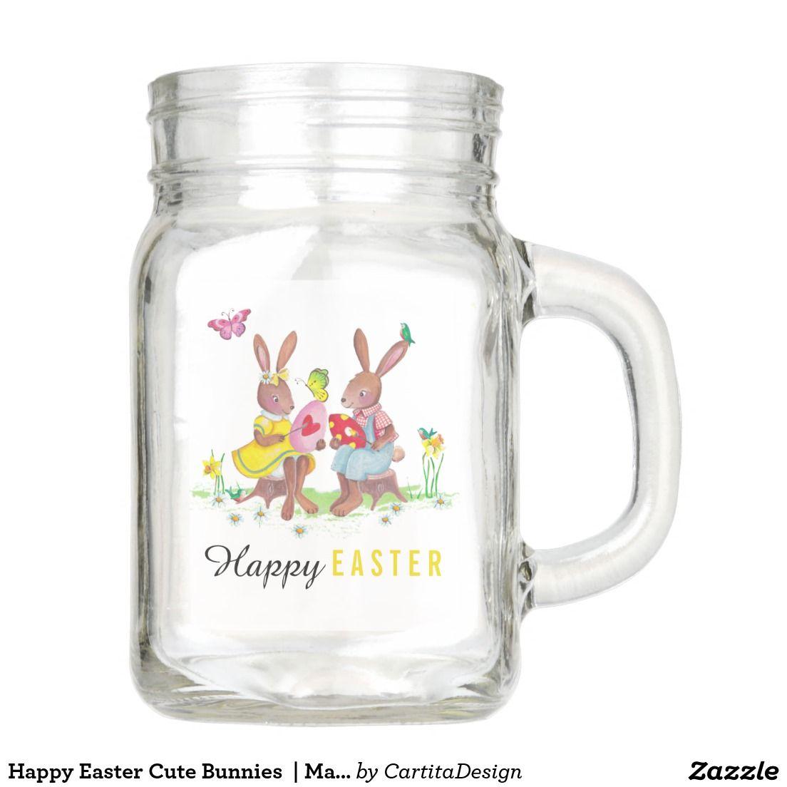 Happy Easter Cute Bunnies    Mason Jar