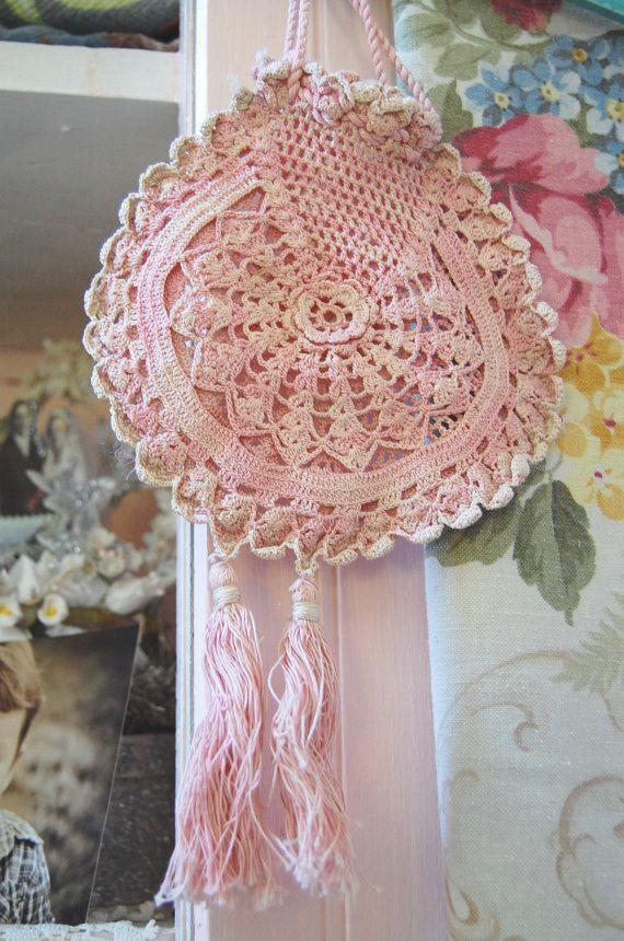 Victorian Purse Vintage Crochet Womens Shabby Chic Handmade Of Linen ...