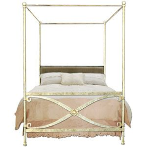 Antiqued Off White Metal Canopy Bed Frame With Fretwork Corsican