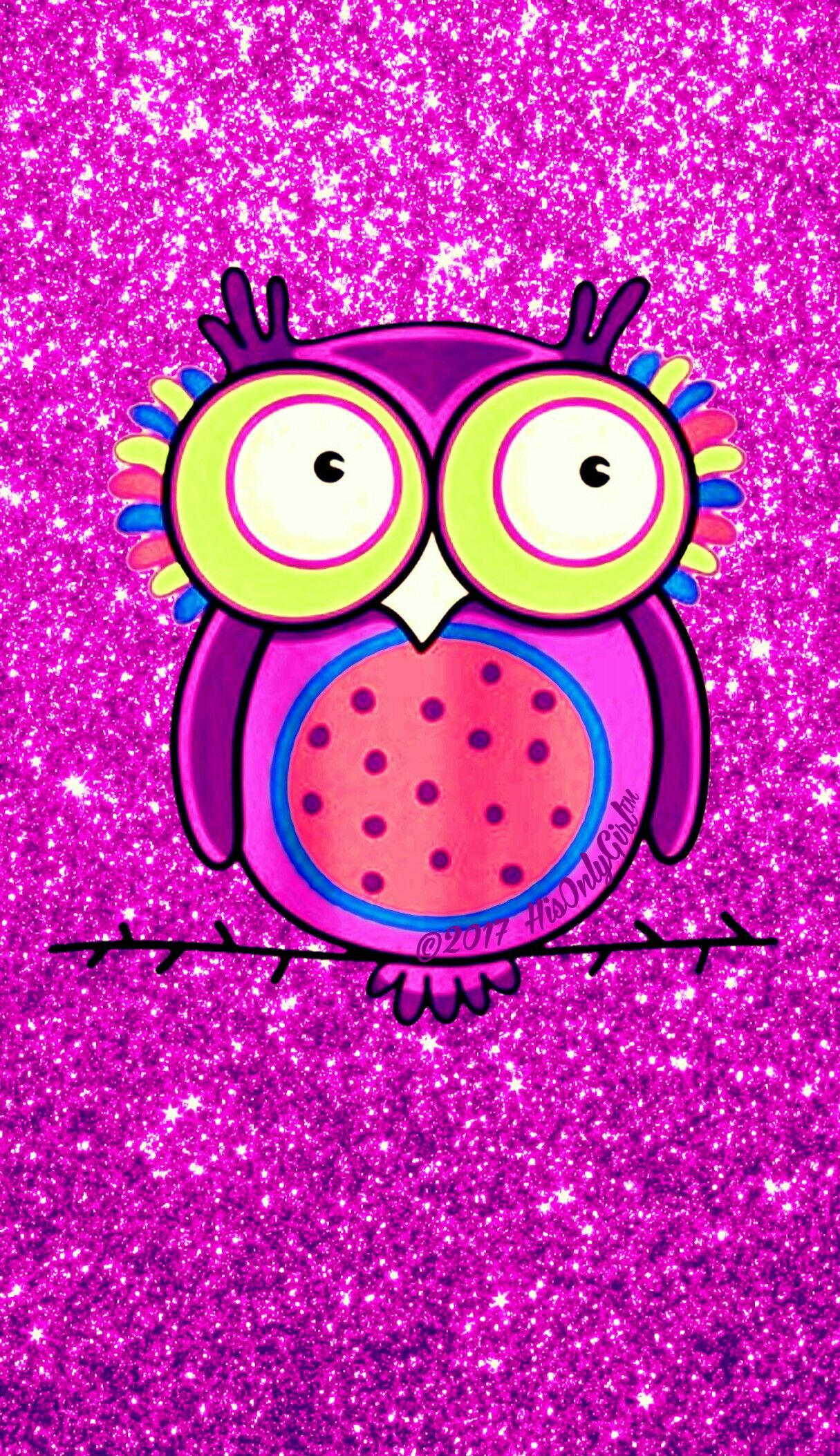 Pink owl glitter wallpaper I created for the app CocoPPa