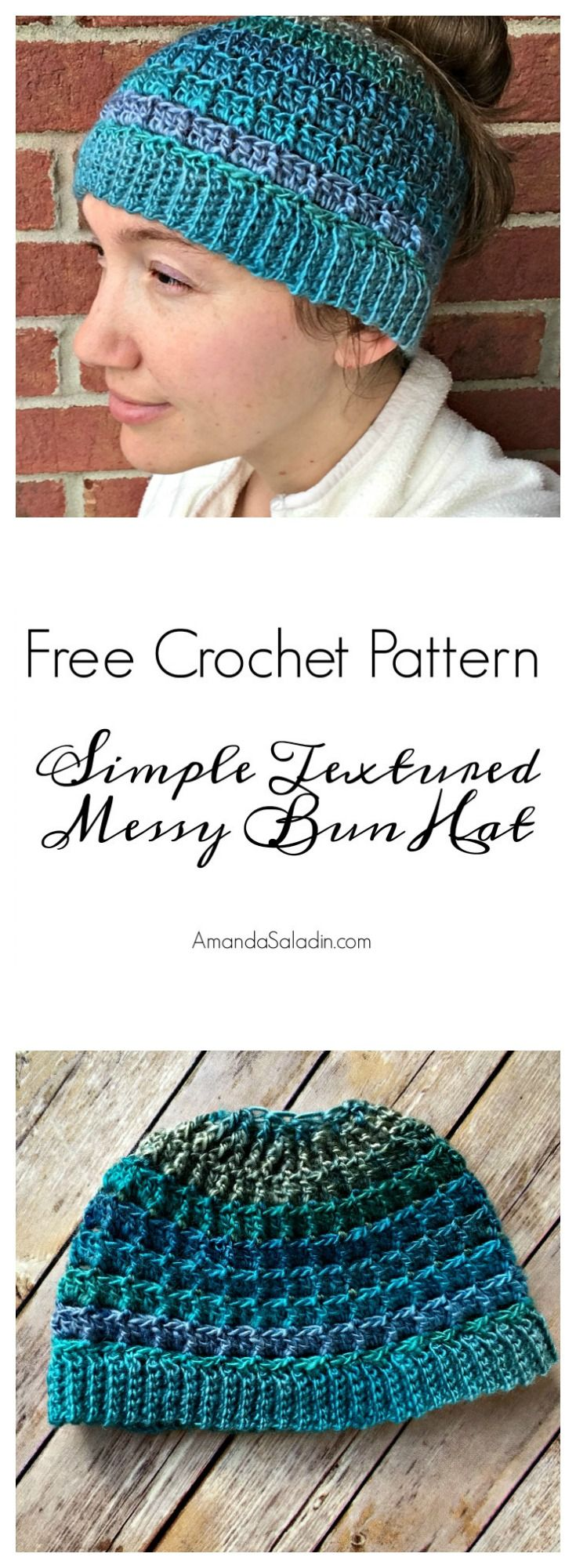 Simple Textured Messy Bun Hat - Free Crochet Pattern | Gorros ...