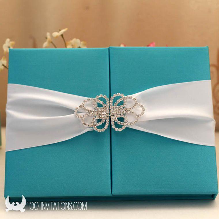 luxury blue silk box wedding invitation with rhinestone buckle