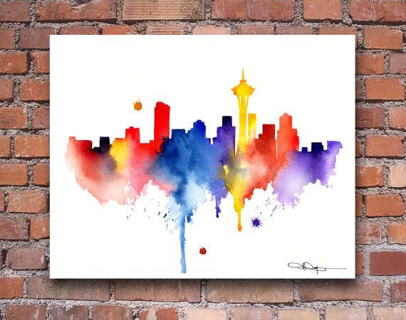 Seattle Skyline Abstract Watercolor Painting Art Print by Artist DJ Rogers