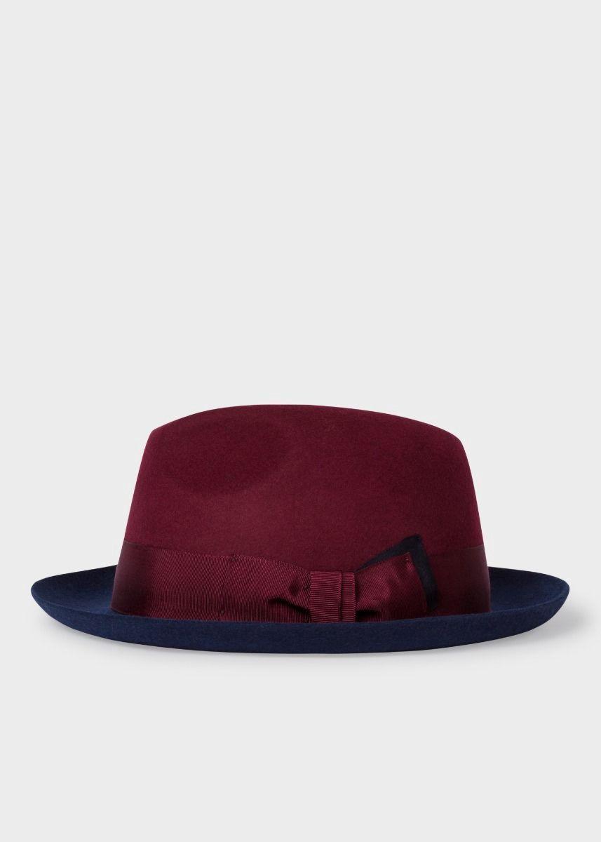 603c4c0802f PAUL SMITH Men s Bi-Colour Burgundy And Navy Wool Trilby Hat.  paulsmith