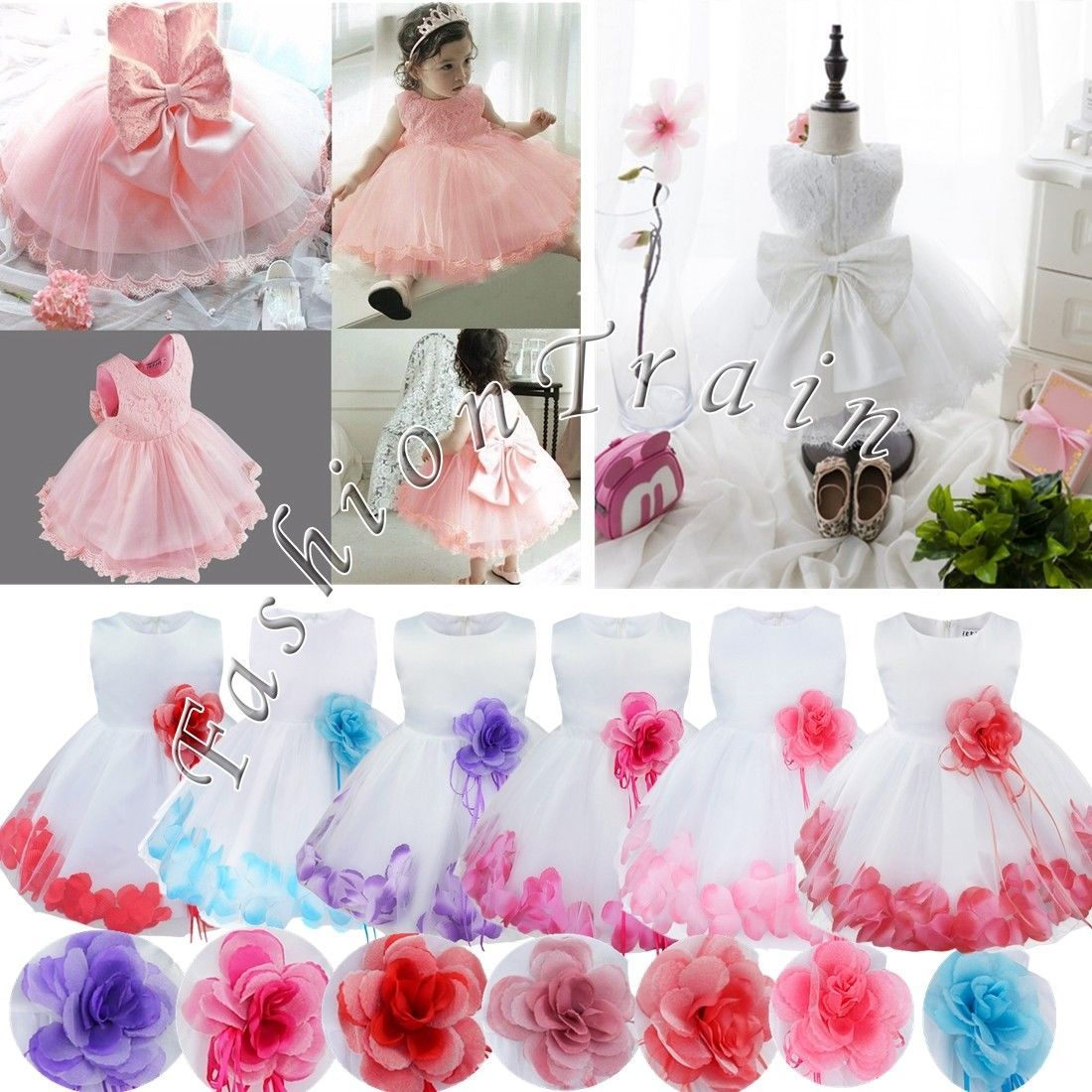 Awesome awesome flower girl princess bow dress kids baby pageant