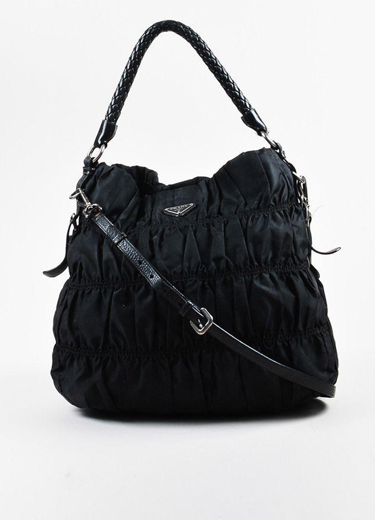 9594b254cf8e Prada Black Nylon Gaufre Leather Ruched Braided Handle Hobo Shoulder Bag  Black Nylons, Gym Bag