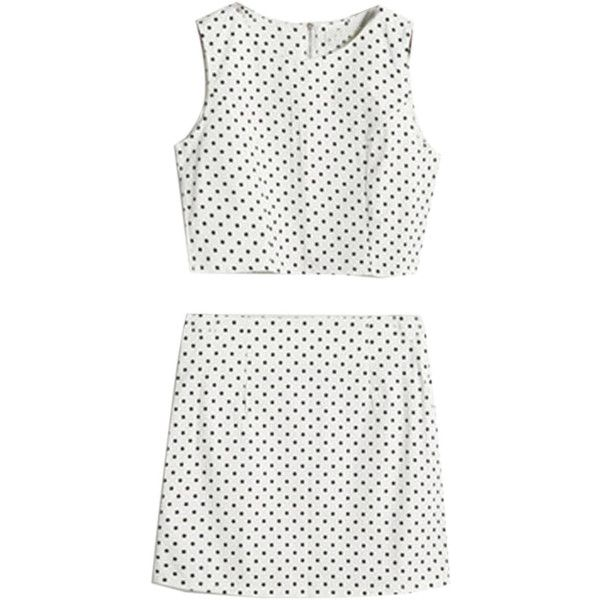 Choies Dots Print Crop Top with Pencil Skirt (£21) ❤ liked on Polyvore featuring dresses, skirts, tops, two piece and white