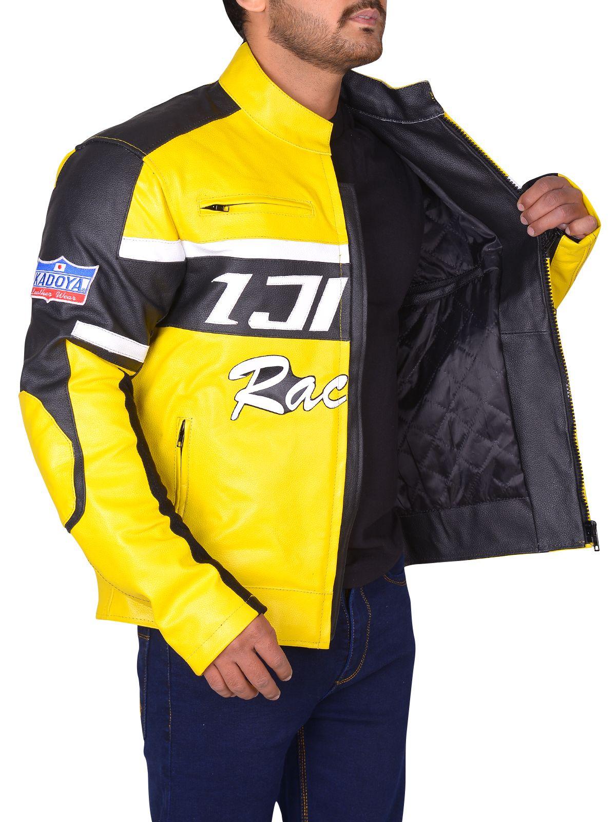 Black Yellow Padded Biker Leather Jacket Men Jacket Mauvetree Leather Jacket Men Jackets Black Biker Jacket [ 1600 x 1200 Pixel ]