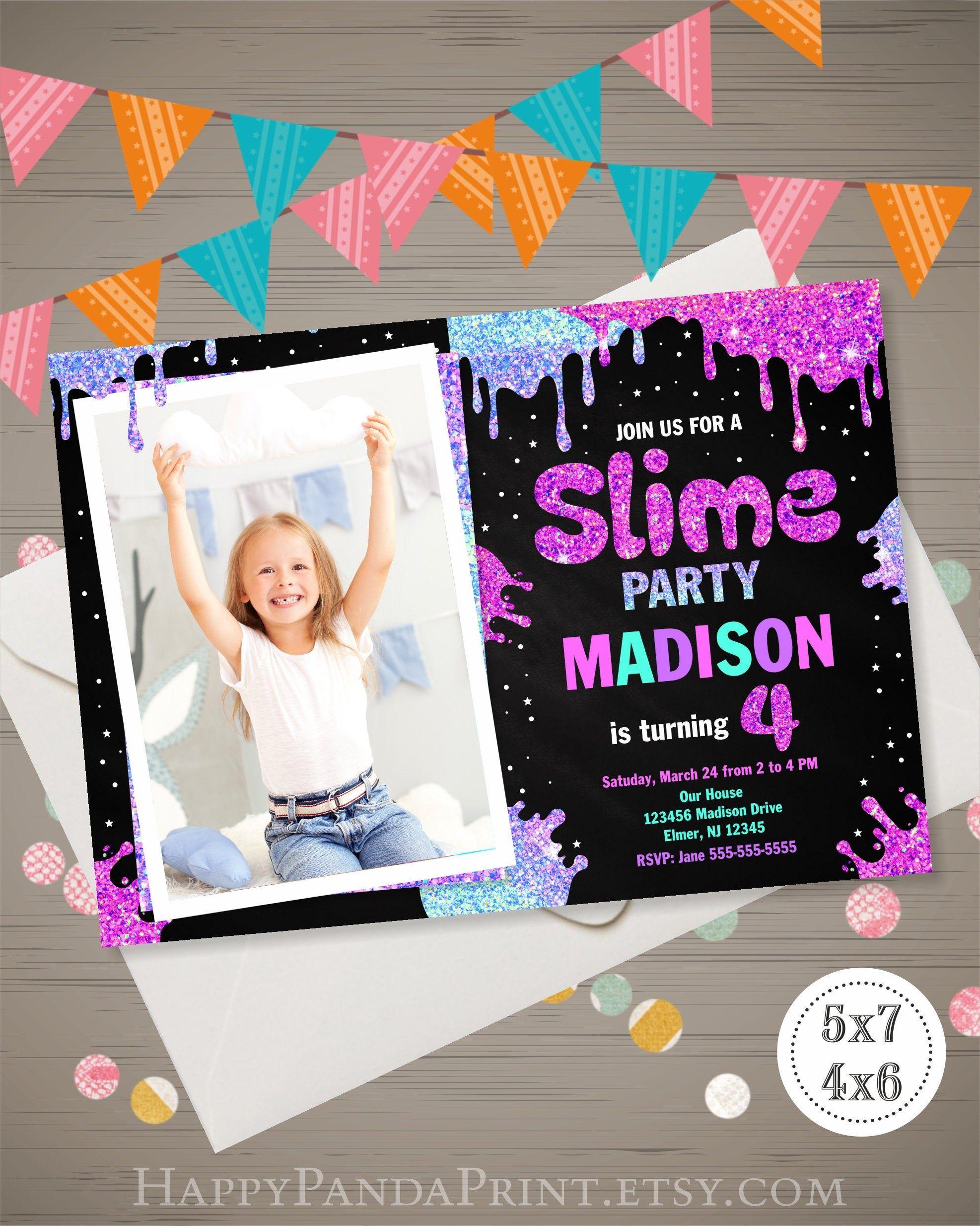 Slime birthday invitation with photo slime invitation