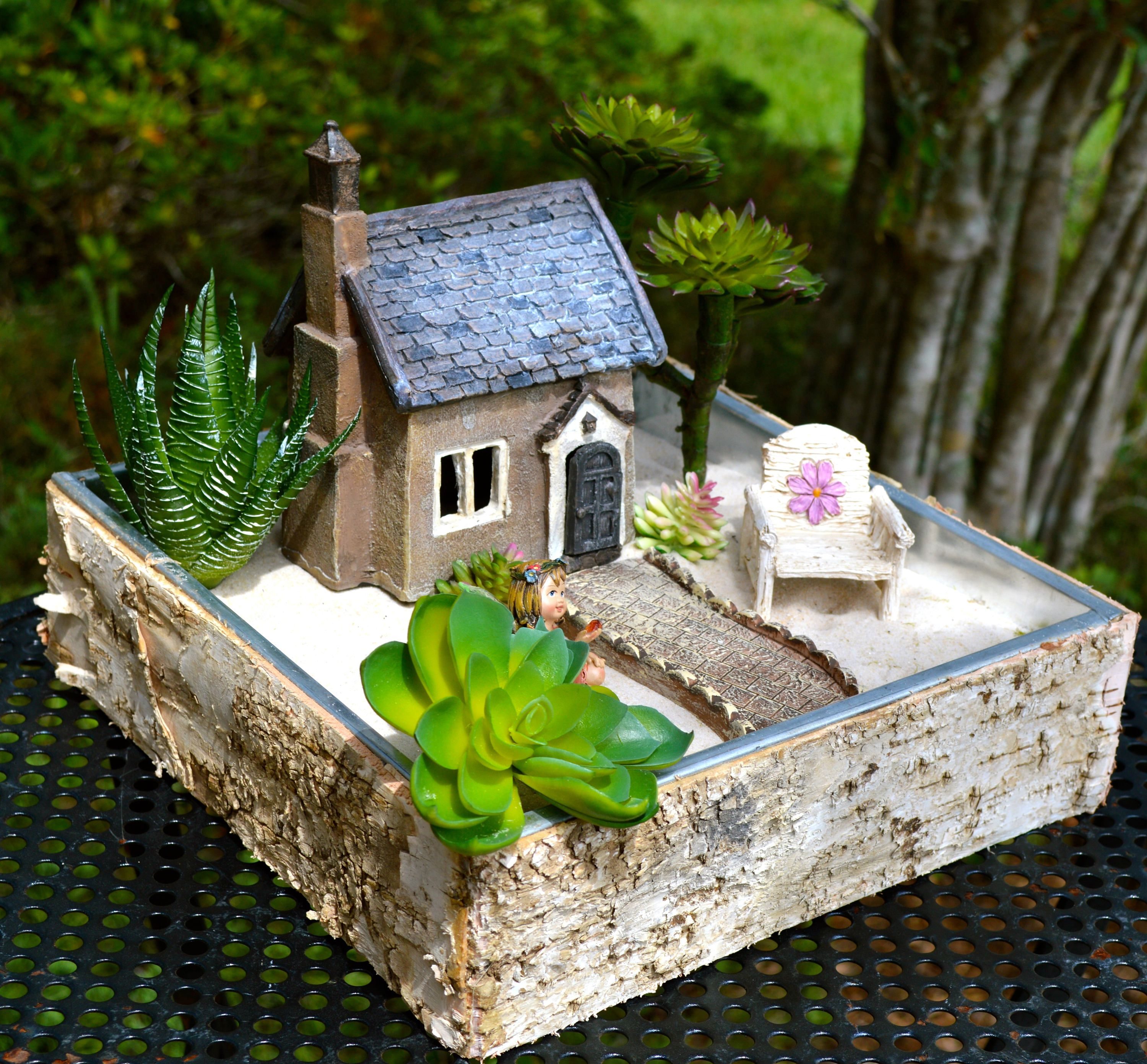Fairy Garden Set ~ French Countryside Cottage ~ Door Opens ~ Daisy Chair ~  Walkway ~