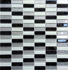black silver white glitter glass wall border splashback mosaic tile