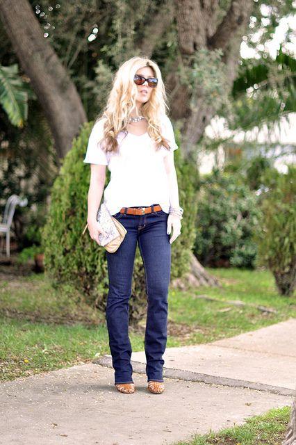 99edca53000 classic dark wash straight leg jeans and white t-shirt by ...love Maegan