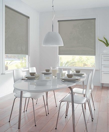Roller Screens Can Be Used To Control Light And Add A Hint Of Colour An All White Room