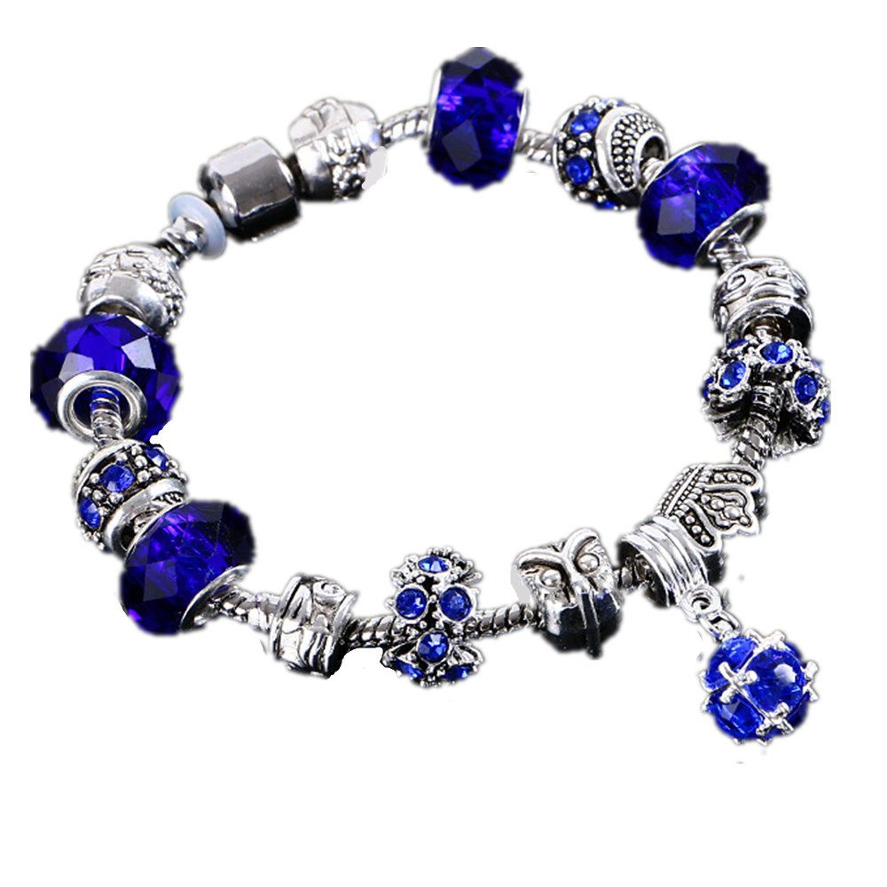 Hot fashion crystal charm bracelet 925 female beads DIY Bracelet index Femme Valentine Pulsera