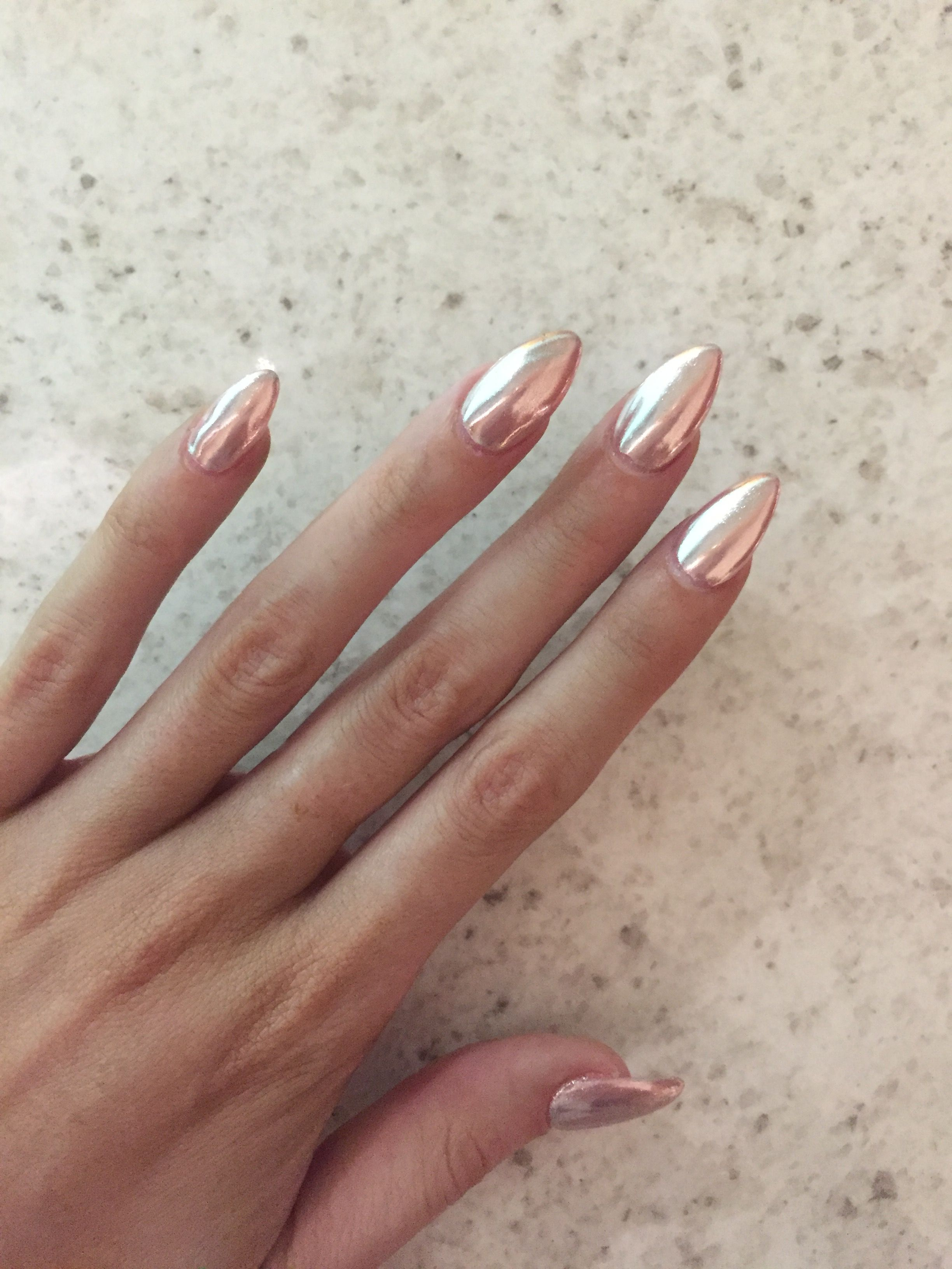 Rose gold chrome | achieved by using a melon pink base and silver ...