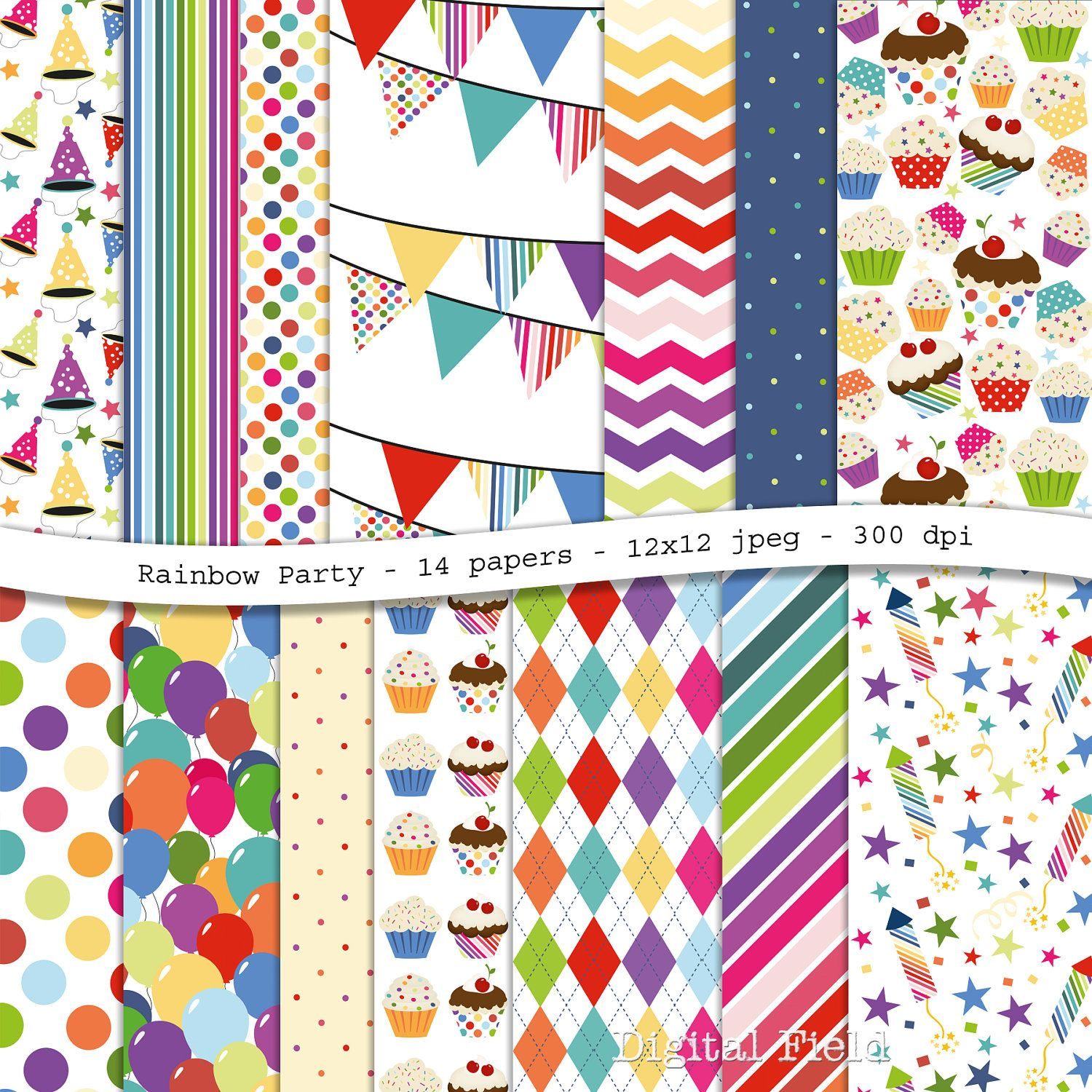 Scrapbook ideas rainbow - Rainbow Party Colorful Digital Scrapbooking Paper Pack 14 Jpeg Papers 12x12 Personal