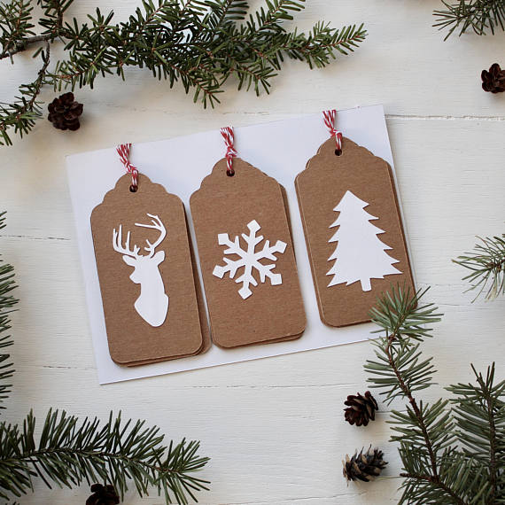 Set Of 9 Handmade Christmas Gift Tags Kraft Paper With White Cardstock Christmas Gift Tags Handmade Christmas Gift Tags Rustic Gift Wrapping