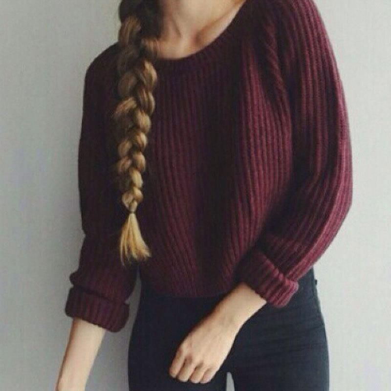 Autumn Winter Women Sweaters And Pullovers Dark Red Korean Style ...