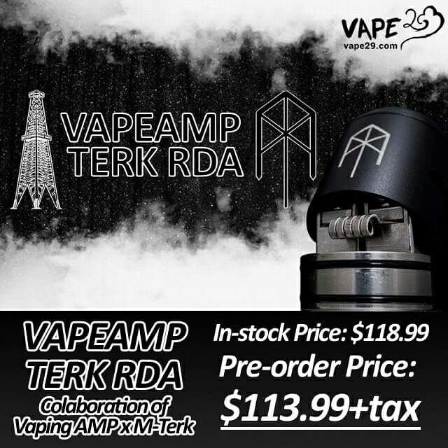 #Preorder for Vaping AMP Terk RDA by Vaping AMP x M-Terk now available for $113.99+tax ($5OFF INCLUDED) #vapeamp #mterkcoils