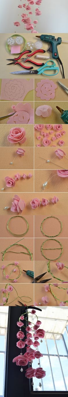 Making Cute Pink Felt Rose Flower Wind Chimes for Home Décor PandaHall Promotion…